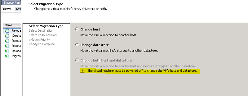 no option to live migrate a guest from one ESXI to another while changing the datastore also