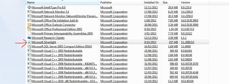 MS Silverlight in installed programs