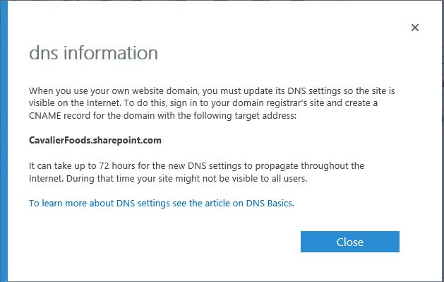 DNS Setup as ons Sharepoint site