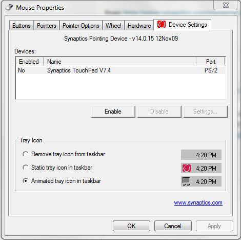 touchpad properties