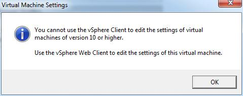 virtual machines of version 10 or higher cannot be edited