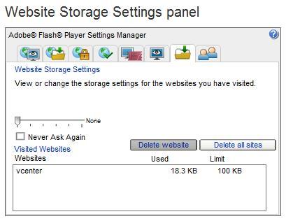 Website Storage Settings Panel