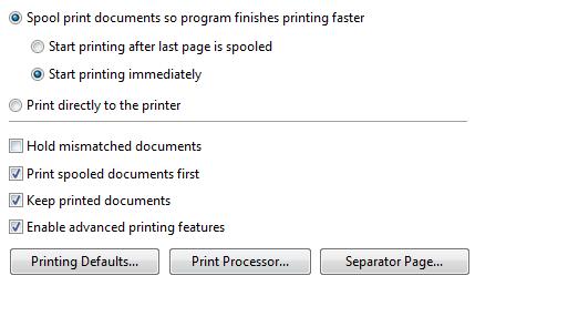 keep printer documetns setting