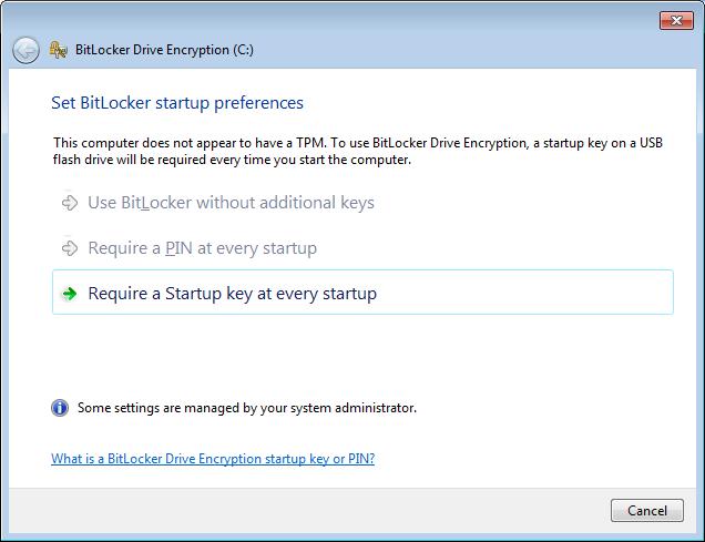 BitLocker Encryption Option