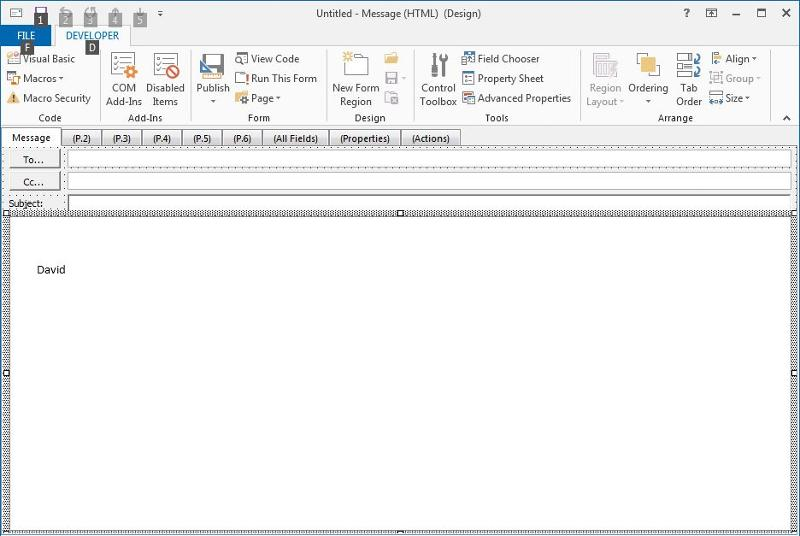 Screen shot of a message form in the form editor
