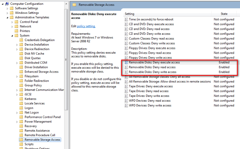 Deny USB Drives
