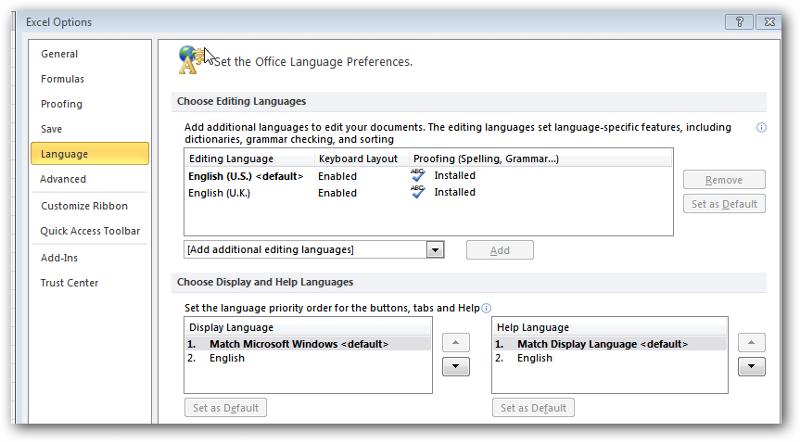 selected language