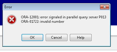 Oracle parallel error