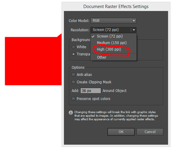 raster effects settings