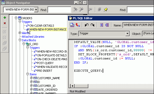 Enter your Connect string in PL/SQL-Editor of When-New-Forms-Instance trigger...