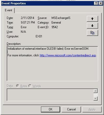 Error 9542 - Initialization of external interface OLEDB failed; Error ecServerOOM.