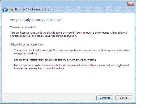 BitLocker System Check