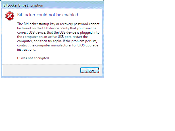 Error Message after USB is not found during Reboot