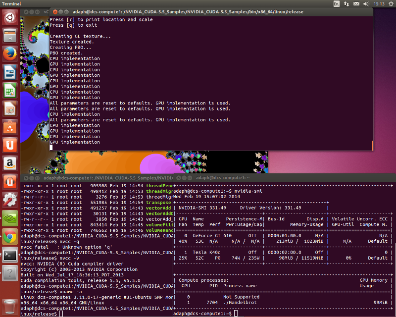 Mandlebrot, and output from nvcc -V and nvidia-smi on Ubuntu 13.10 with Tesla K40c, CUDA 5.5.0