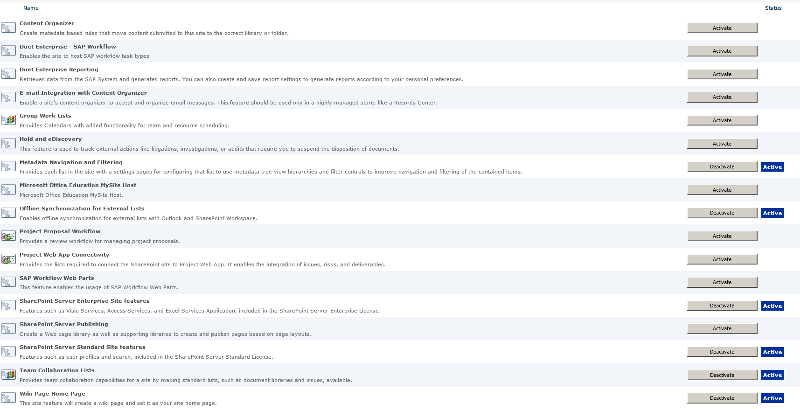 o365 features list screenshot