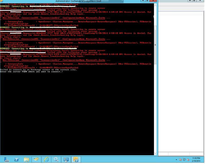 Exchange management shell connction error