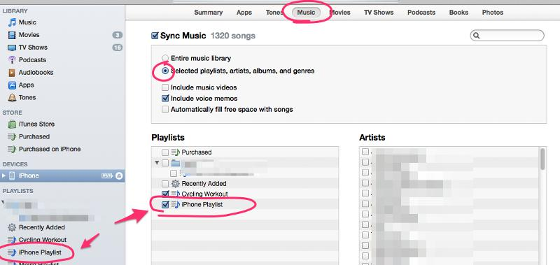 iTunes custom playlists for devices