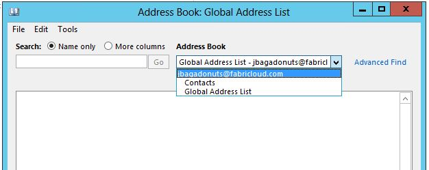 No Fabricloud AB in Address Book list