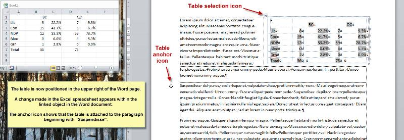 Result after Table Positioning layout options are set