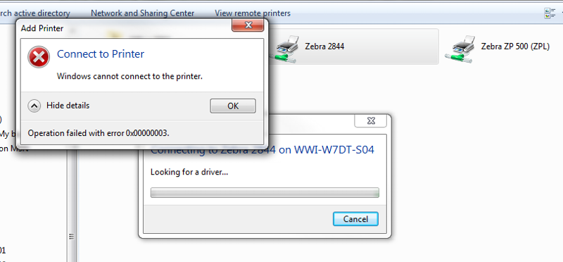 error message when trying to add printer