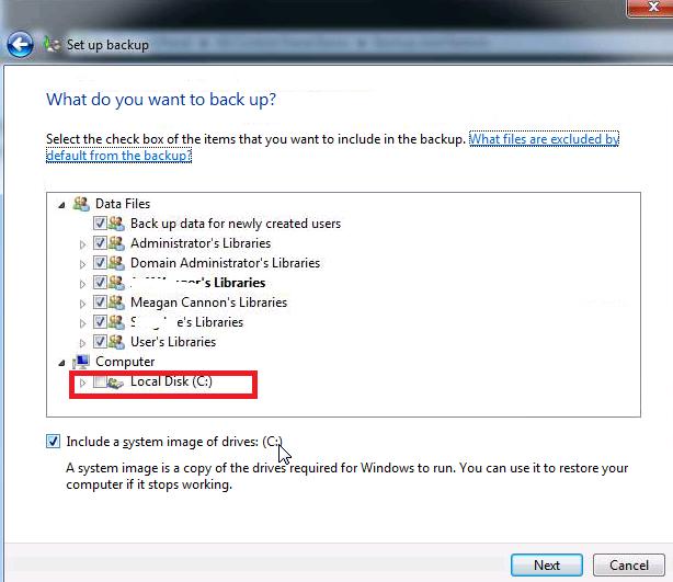 Windows Backup Option