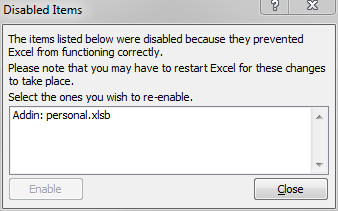 disabled add-ins