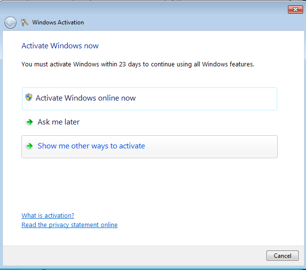 Windows activation screen