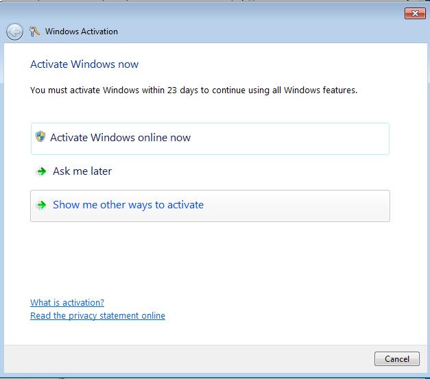 Windows activation screen