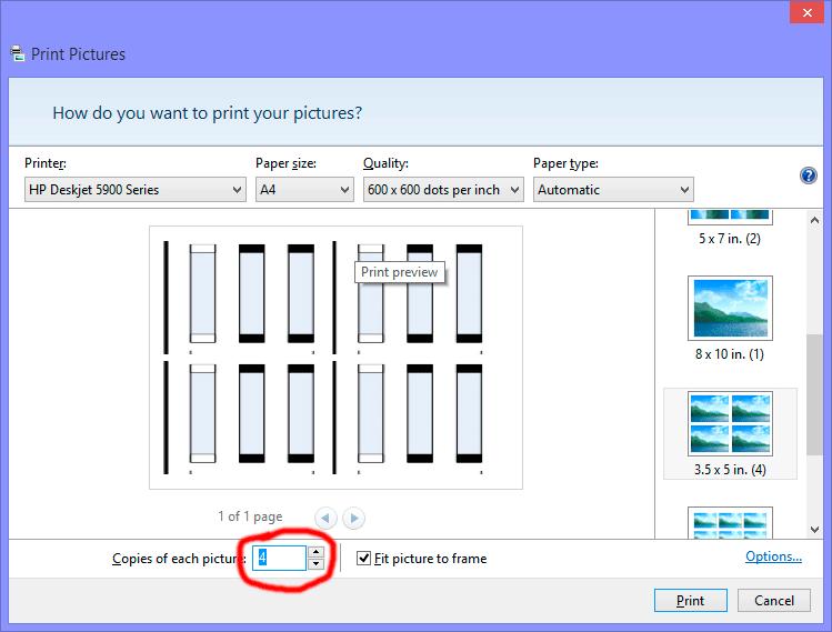print same photo 4 times on page