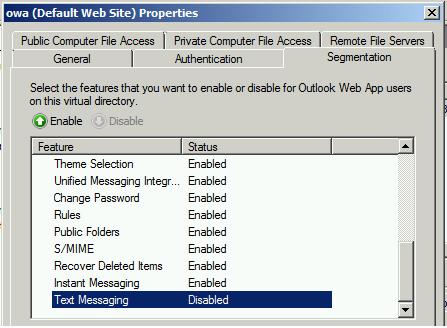 OWA Folder Properties