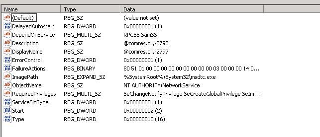 MSDTC Registry