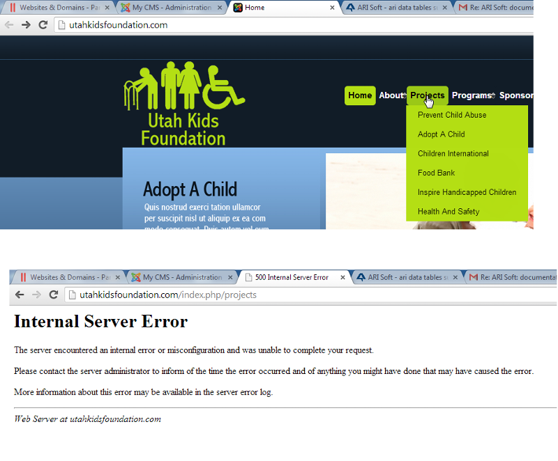 joomla error menu item click