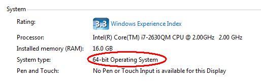 System type 32-bit or 64-bit