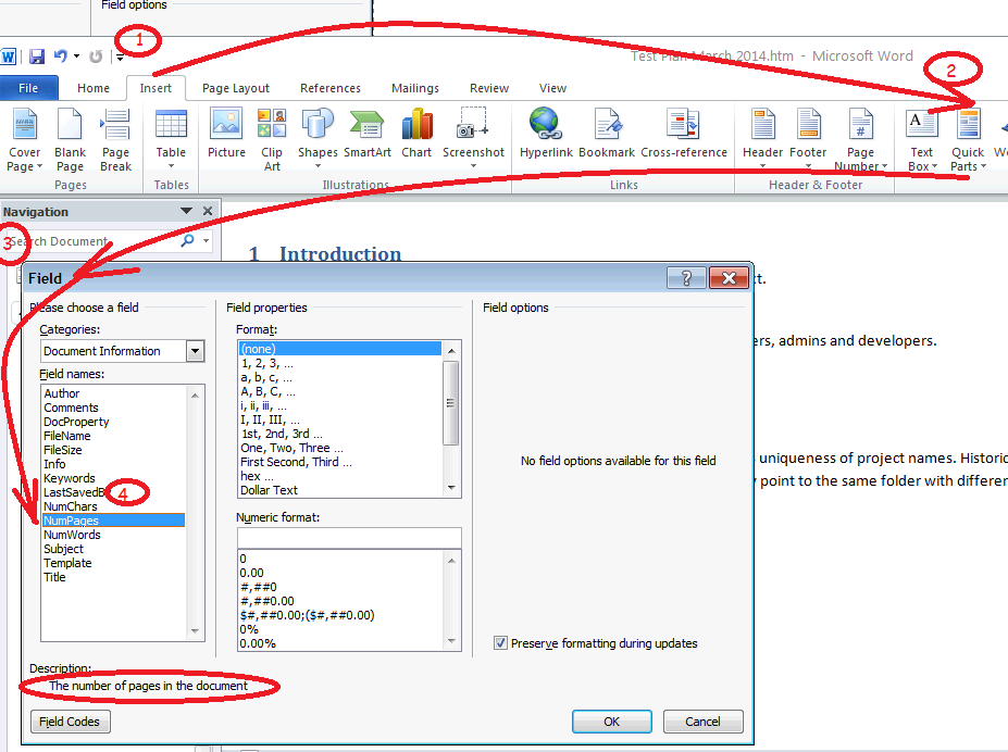 how to change page number in word 2007