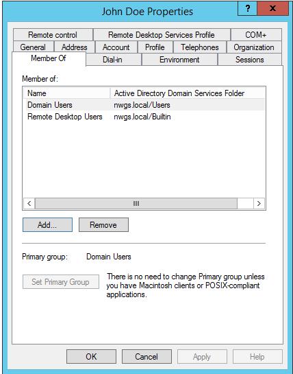 Remote Desktop users account