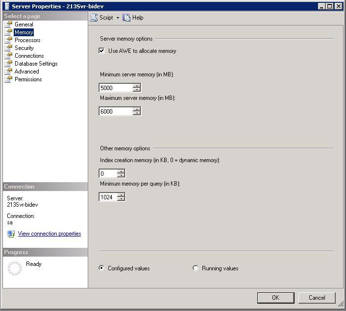 SQL Server Properties - Memory