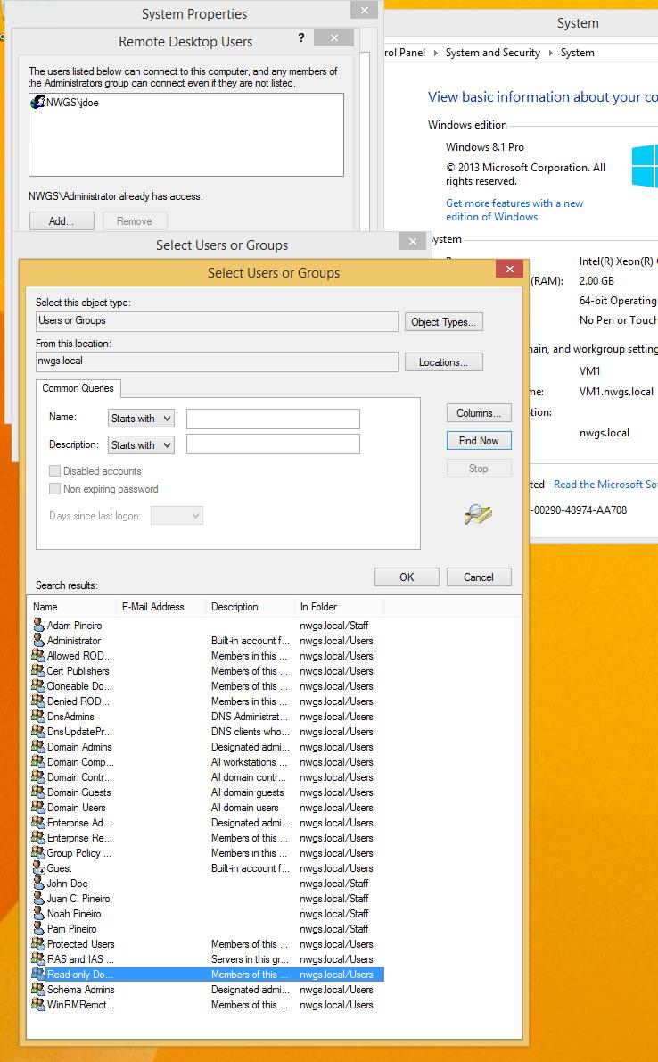 No Remote Desktop Users Group