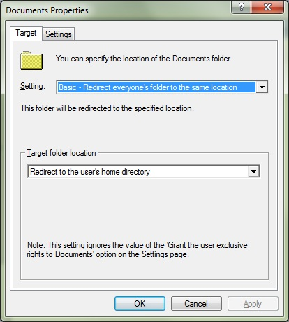 Documents folder redirection settings
