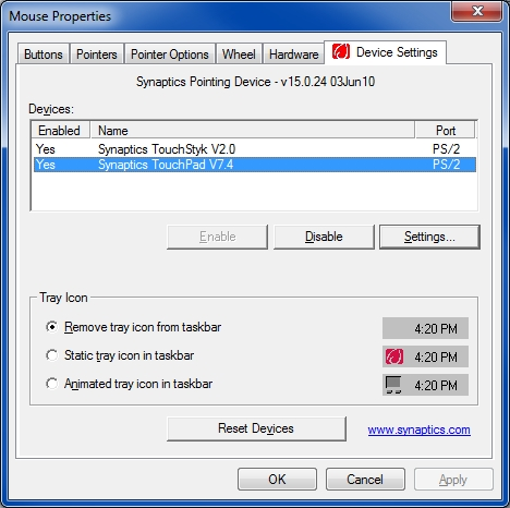 Synaptics Device Settings tab