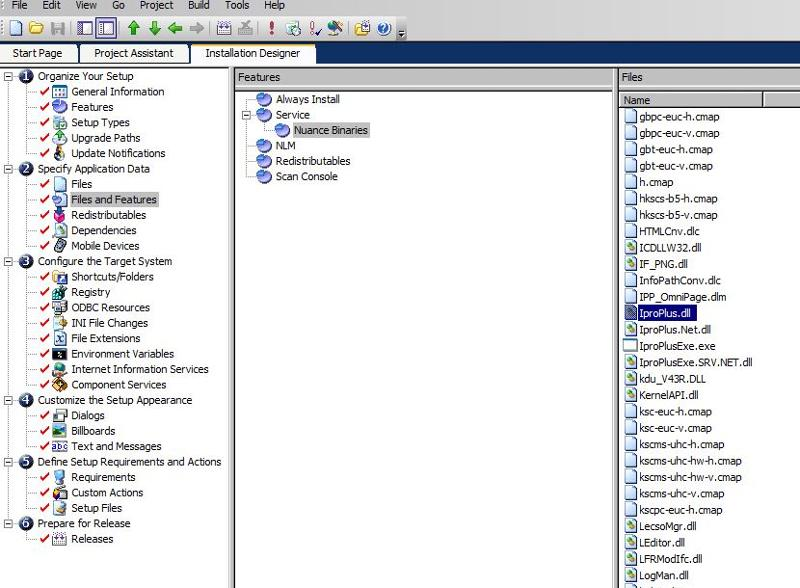 Specify Application Data -> Files and Features
