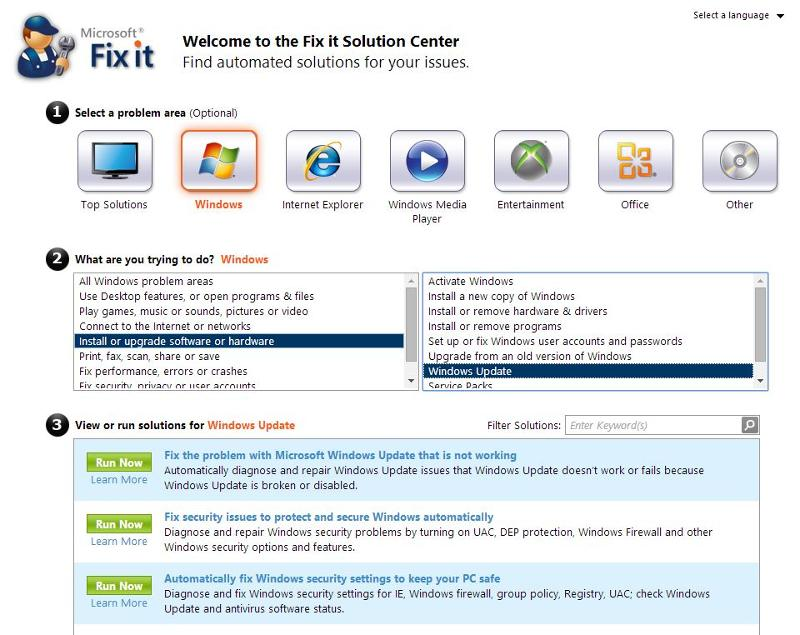 Microsoft FixIt For Windows Update