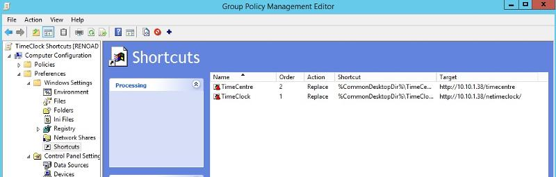 working shortcut group policy