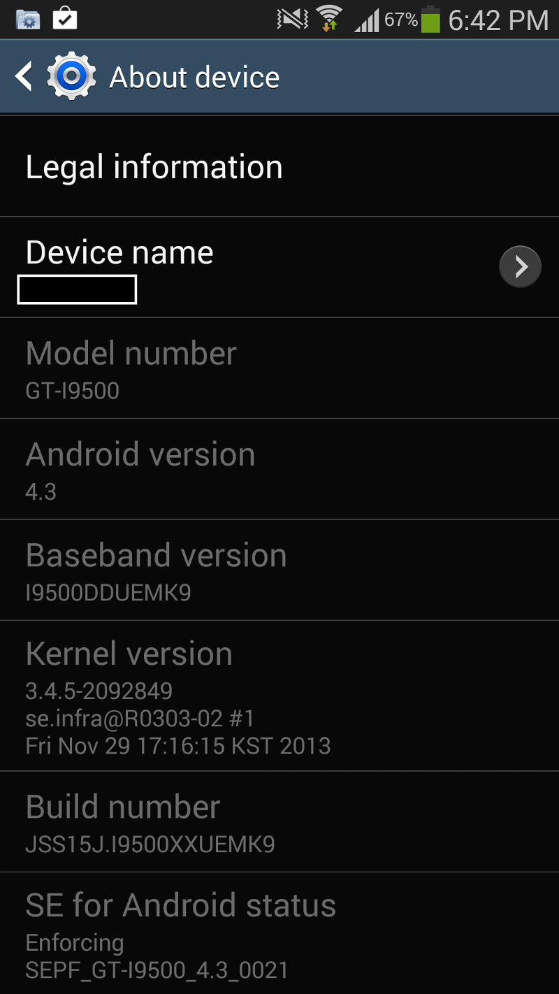 Screenshot of my phone device info.