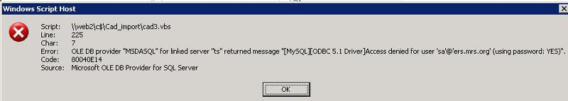 error rendered on vb script execution