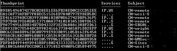 Results from the Get-ExchangeCertificates command in Exchange Shell