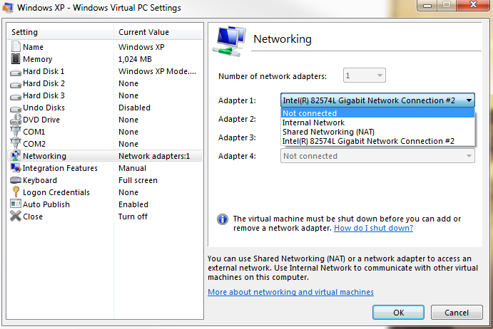 virtual network settings