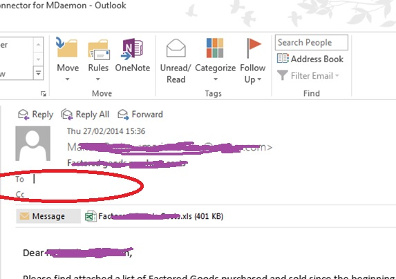 Outlook Issue - see how the 'To' and 'CC' fields are empty