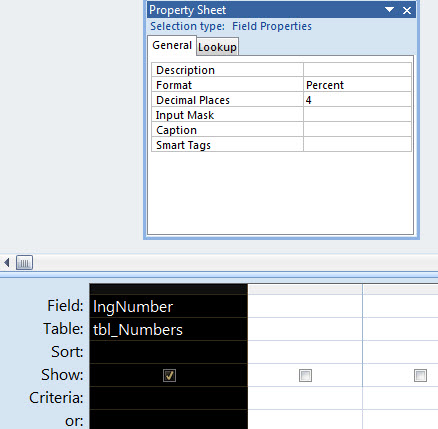Query column formmating