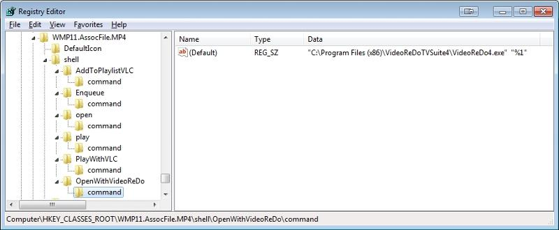 MP4 registry add OpenWithVideoReDo