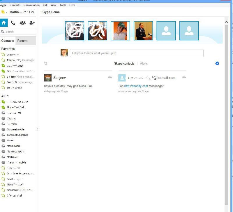 Skype Home tab screenshot